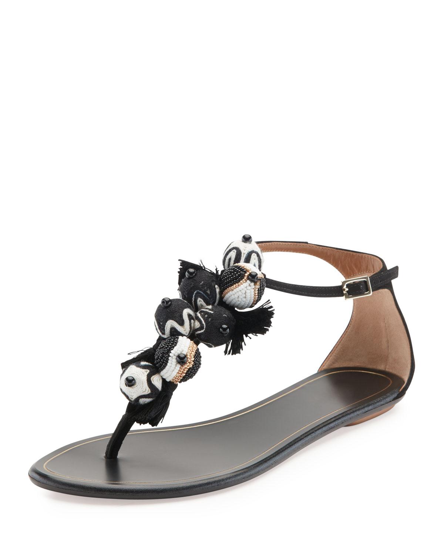 2af79090c Aquazzura Tropicana Tassel Flat Thong Sandal