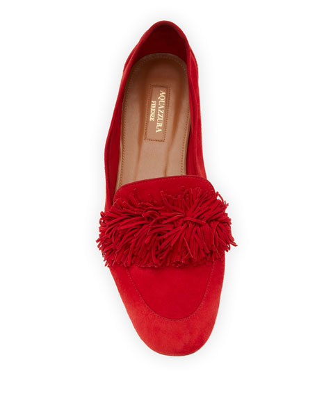 Wild Suede Fringe Loafer Flat, Red