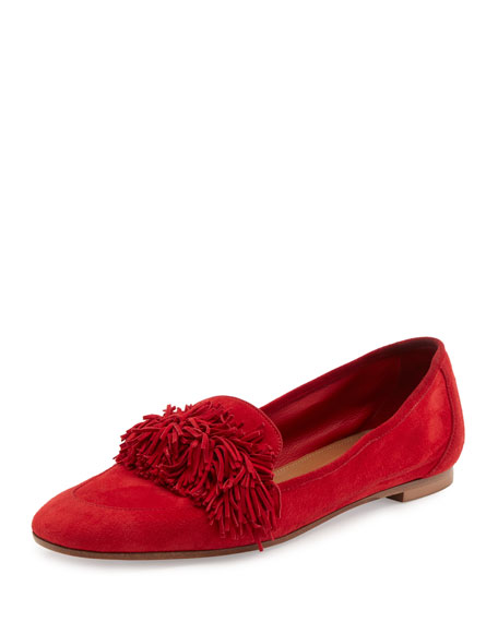 Aquazzura Wild Suede Fringe Loafer Flat, Red