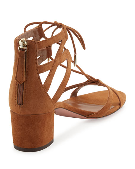 Beverly Hills Suede Lace-Up Sandal, Brown