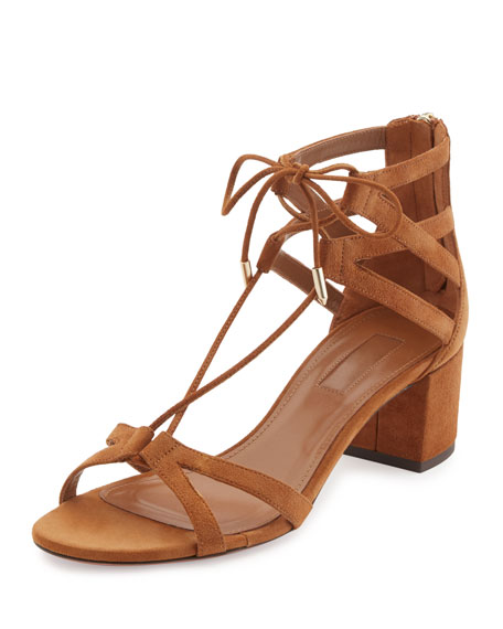 Aquazzura Beverly Hills Suede Lace-Up Sandal, Brown