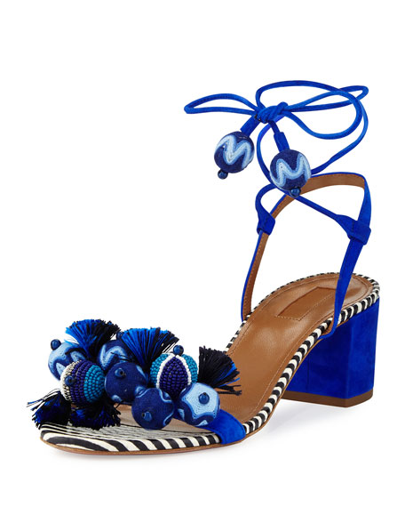 Aquazzura Tropicana Beaded 50mm Sandal, Blue