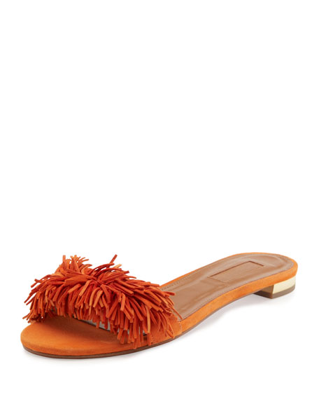 Wild Thing Suede Flat Slide Sandal, Orange