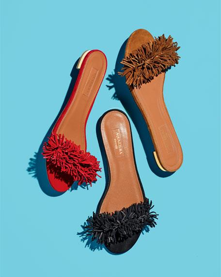 Wild Thing Suede Flat Slide Sandals, Black