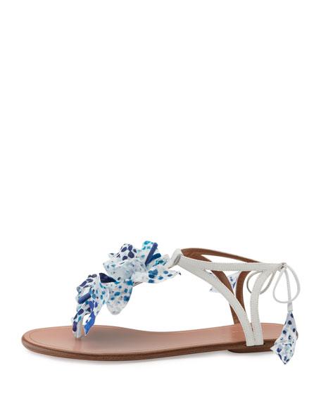 Flora Flat Thong Sandal, White