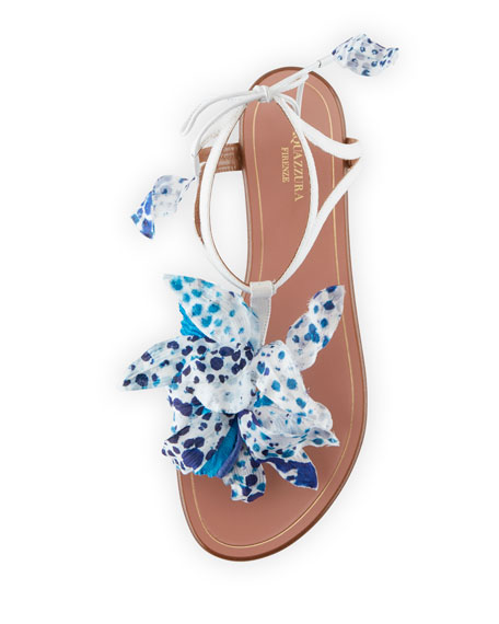 Flora Flat Thong Sandals, White