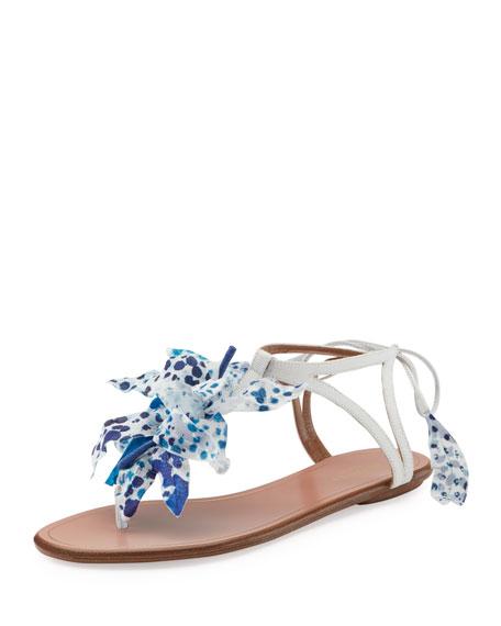 Aquazzura Flora Flat Thong Sandal, White