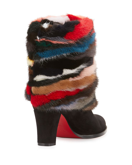 Mink-Cuff Suede 70mm Red Sole Bootie, Multi