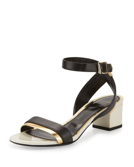 Lanvin Mirror Cube-Heel 45mm Sandal, Black/Gold