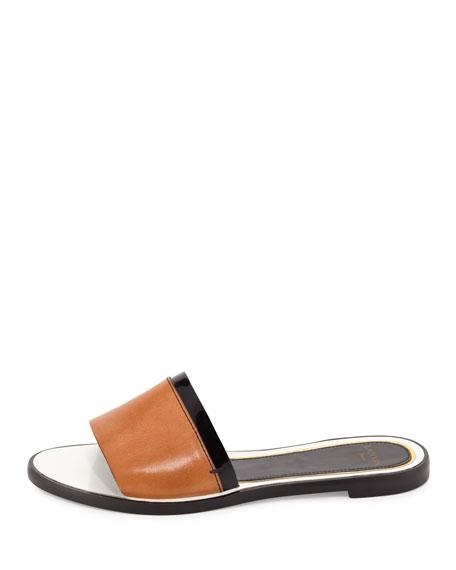 Patent-Trim Leather Slide Sandal, Natural/Black