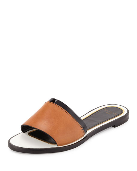 Lanvin Patent-Trim Leather Slide Sandal, Natural/Black