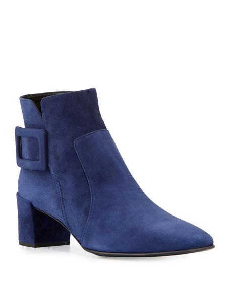 Polly Suede Buckle Booties, Navy