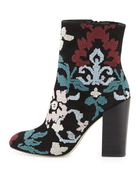 Bojana Embroidered Suede Bootie, Black