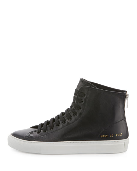 Tournament Leather High-Top Sneaker, Black