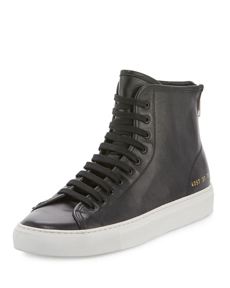 Common Projects Tournament Leather High-Top Sneaker, Black