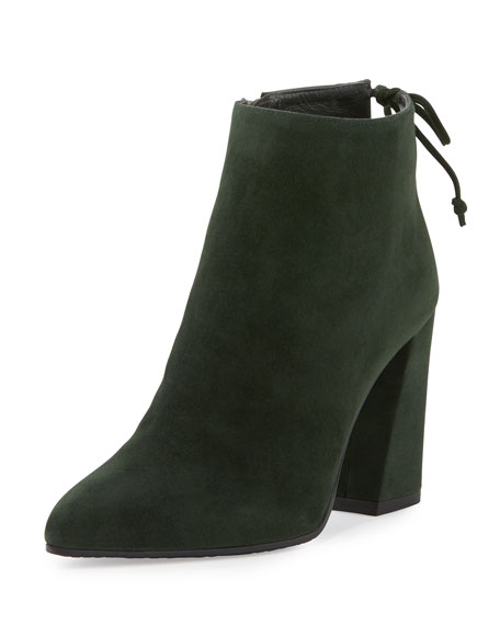 Grandiose Suede Pointed-Toe Bootie, Forest