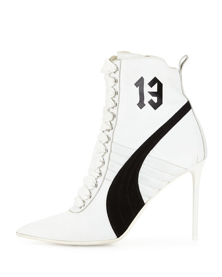 Suede 105mm Sneaker Bootie, White/Black