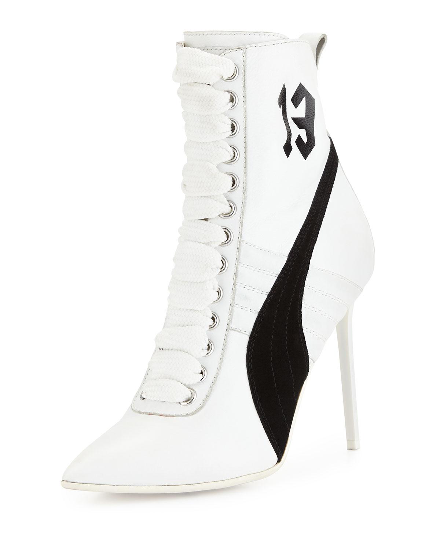 best service 754f8 bfa51 Suede 105mm Sneaker Bootie, White/Black