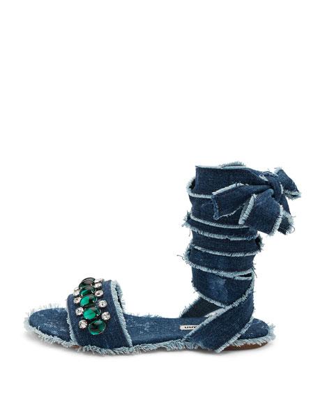 Jeweled Denim Lace-Up Sandal, Blue Pattern