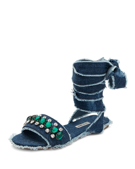Miu Miu Jeweled Denim Lace-Up Sandal, Blue Pattern
