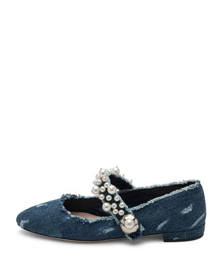 Pearly Denim Mary Jane Flat, Blue