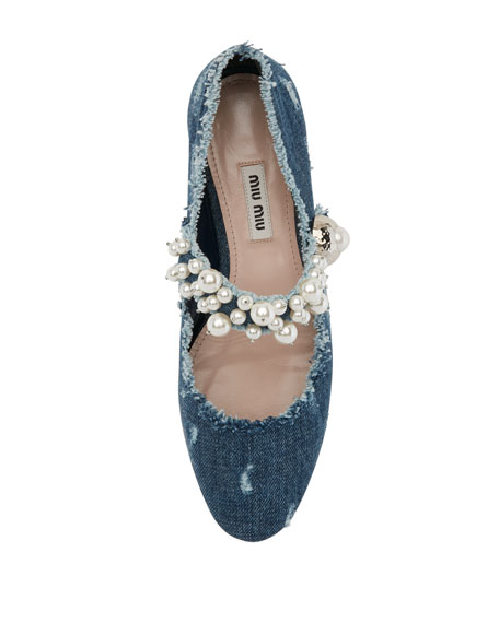 Pearly Denim Mary Jane Flat, Blue
