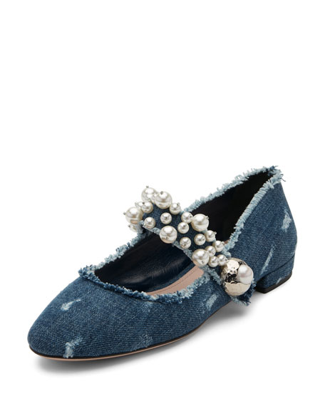 Miu Miu Pearly Denim Mary Jane Flat, Blue