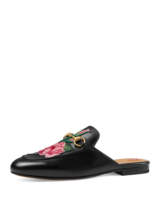 73889fb61 Gucci Princetown Bloom Floral Slipper, Black | Neiman Marcus