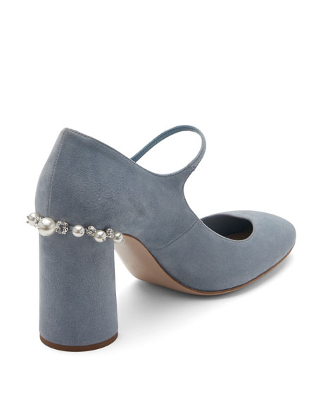 Pearly Suede Mary Jane Pump, Light Blue