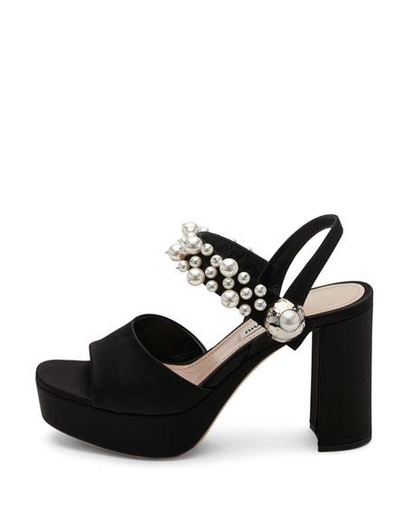 Pearly Satin Platform Sandal, Black