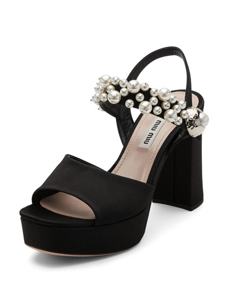 Miu Miu Pearly Satin Platform Sandal, Black