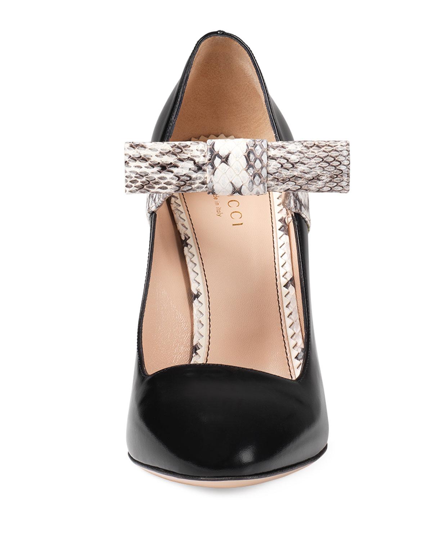 324b516bb Gucci Nimue Snakeskin & Leather Mary Jane Pump, Black | Neiman Marcus
