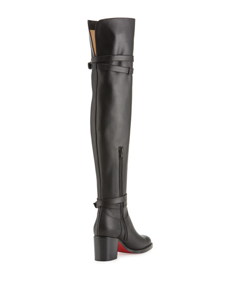 Karialta Leather 70mm Red Sole Over-the-Knee Boot, Black