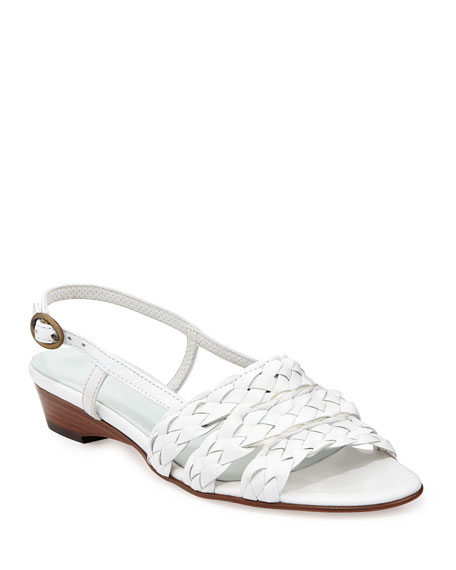 Sesto Meucci Ginny Woven Leather Slingback Sandal, White