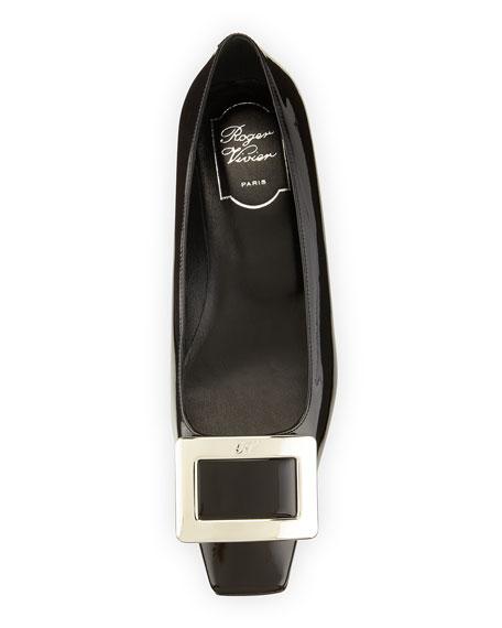 Belle Vivier Patent Buckle Ballerina Pump, Black