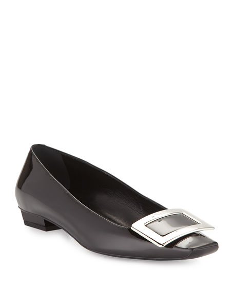 Belle Vivier Patent Buckle Ballerina Pumps, Black