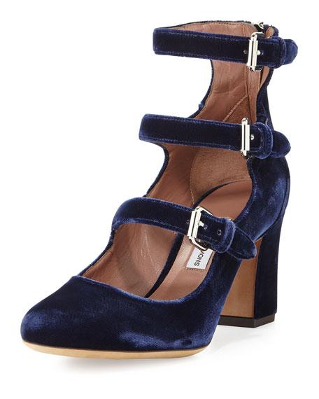 Tabitha Simmons Ginger Velvet Three-Strap Pump, Blue