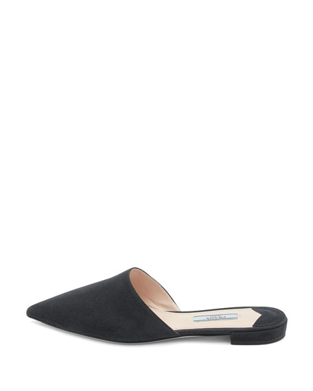 Suede Pointed-Toe Mule Flat
