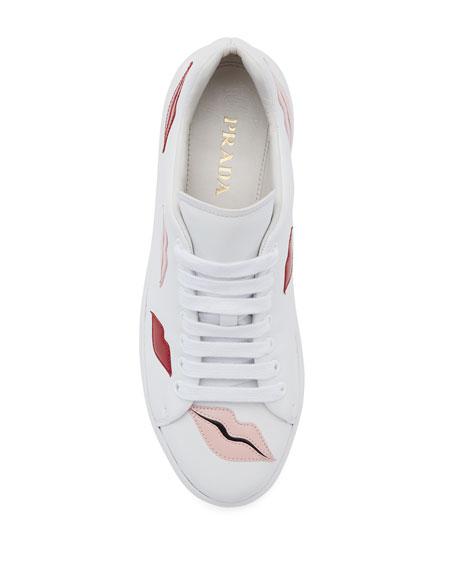 Lip-Appliqué Lace-Up Low-Top Sneaker, White