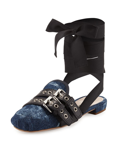 Denim/Ribbon Ankle-Wrap Slide Flat, Bleu