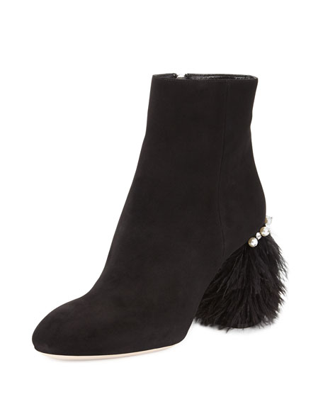 Miu Miu Suede Feather-Heel Ankle Boot, Nero