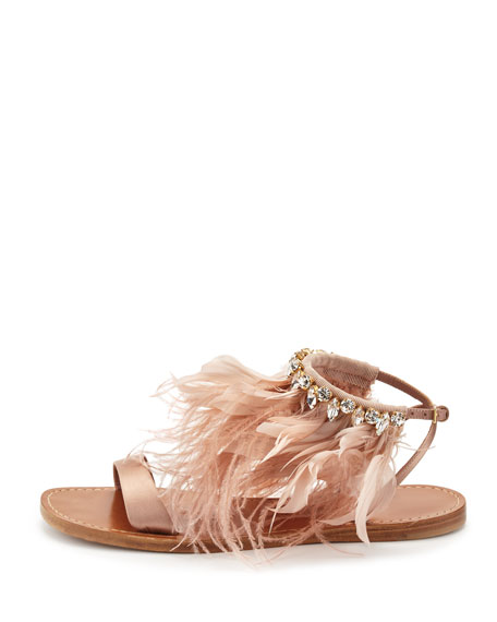 Feather-Ankle Flat Sandal, Neutral