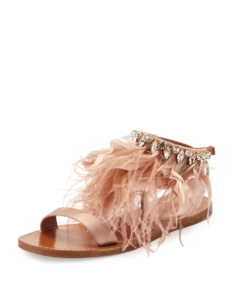 Miu Miu Feather-Ankle Flat Sandal, Neutral