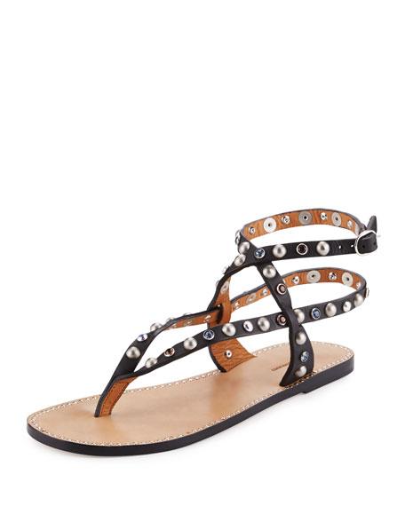 Isabel Marant Audrio Studded Multi-Strap Sandal, Black