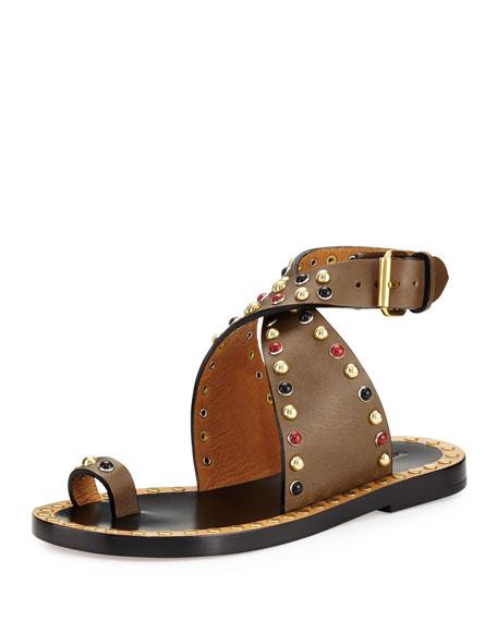 Isabel Marant Jools Studded Ankle-Wrap Sandal, Bronze