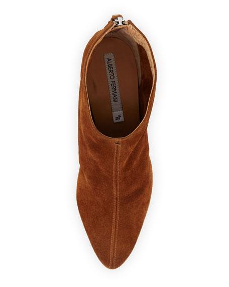 Lucciano Suede Wood-Heel Bootie, Brown