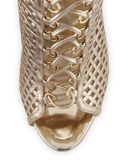 Coline Caged 110mm Bootie, Gold