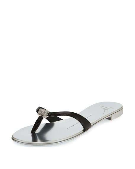 Nuvorock Crystal Thong Sandal, Silver