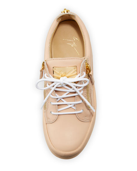 London Leather Side-Zip Sneakers, Shell Pink