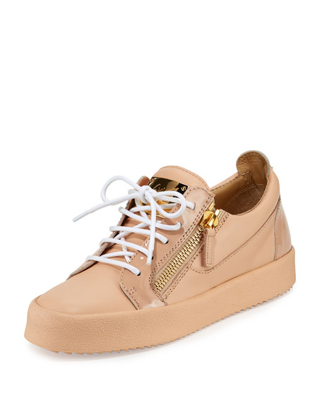 Giuseppe Zanotti London Leather Side-Zip Sneakers, Shell Pink